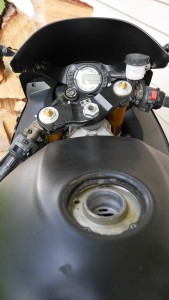 2003 Kawasaki Ninja Motorcycle Gas cap must be picked open to remove.